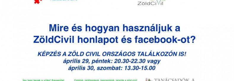 A ZöldCivil honlap és facebook felületek használatának képzése az OT-n