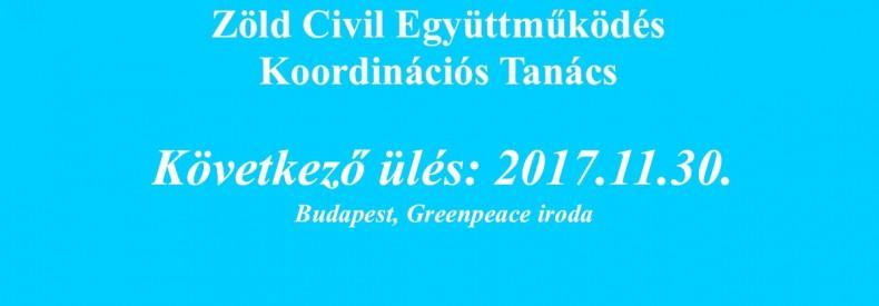 Zöld Civil Koordinációs Tanács ülés: 2017.11.30.