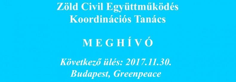 Meghívó Zöld Civil Koordinációs Tanács ülésre