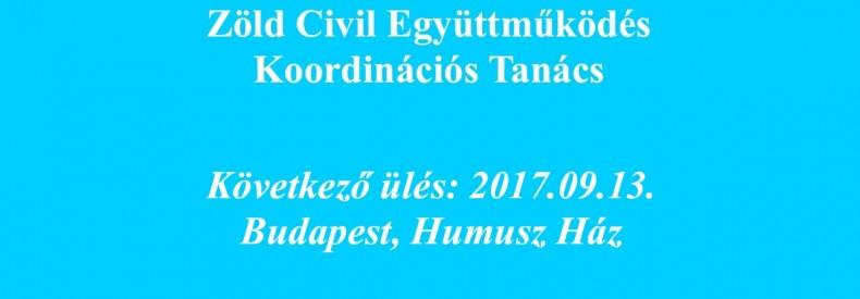 A Koordinációs Tanács következő ülése: 2017.09.13.