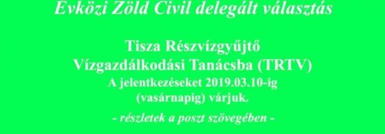Tisza Részvízgyűjtő Vízgazdálkodási Tanácsba (TRTV) évközi delegált választás